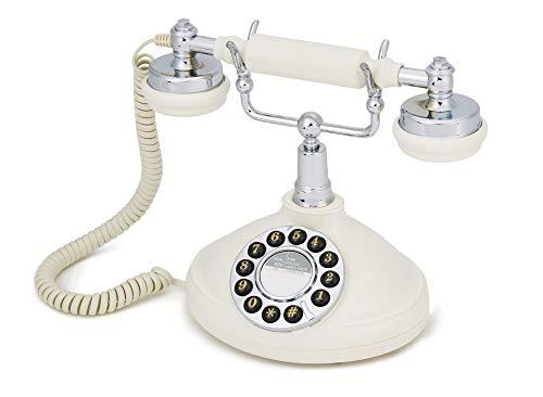 GPO Opal Retro Phone - Nostalgic Vintage Push-Button Analogue Landline Telephone with Curly Cord - Cream & Chrome