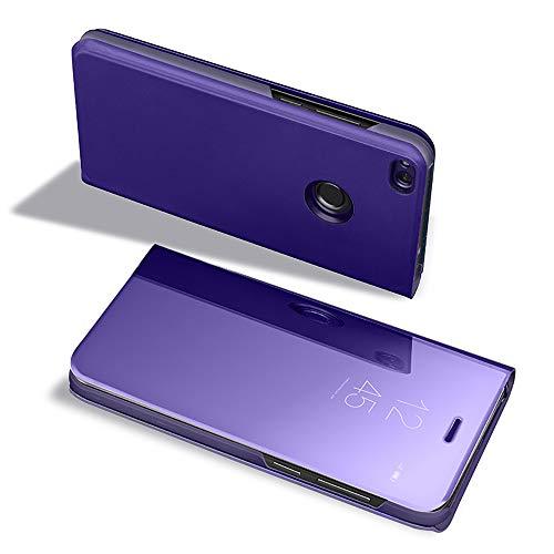 Dfly P9 Lite 2017 - Funda con Tapa para Huawei P9 Lite 2017 (Efecto Espejo, translúcido, Ultra Delgada, antiarañazos, antigolpes, Vertical), Morado/Azul, Huawei P9 Lite 2017