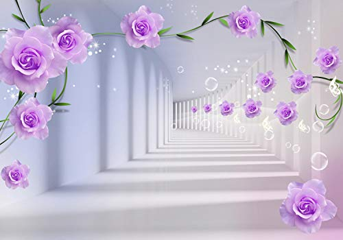 wandmotiv24 Fototapete Hell Lila Blumen Wasserblasen Korridor XL 350 x 245 cm - 7 Teile Fototapeten, Wandbild, Motivtapeten, Vlies-Tapeten M4613