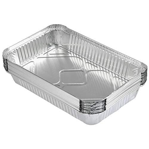 YANSHON Bandeja Rectangular Papel de Aluminio para Alimentos Plato Aluminio Desechable para Fiesta bandejas de Goteo de Aluminio de Barbacoa Contenedores grandes para Hornear, Cocinar, Bandejas 30 Pcs