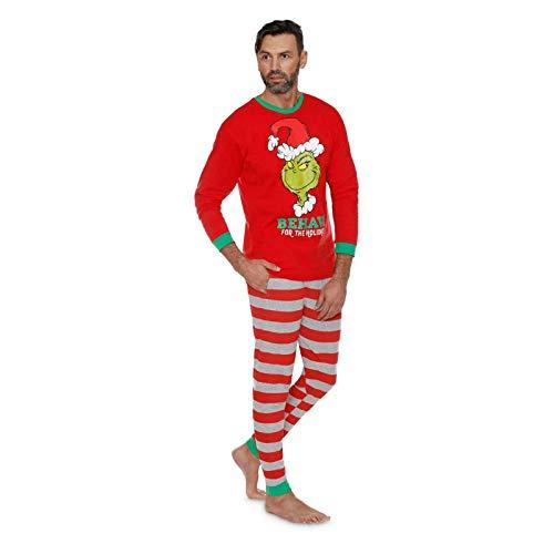 Pijamas De Navidad A Juego De La Familia Grinch Conjuntos De Manga Larga Conjunto De Ropa De Hogar De Cuello Redondo Conjunto De Pijama De 2 Piezas Ajustado (Father,M)