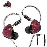 Monitores en la Oreja, Auriculares de botón con Cable, Controladores duales con Cables Desmontables MMCX, Auriculares IEM con cancelación de Ruido para músicos Cantantes Bateristas (Púrpura)