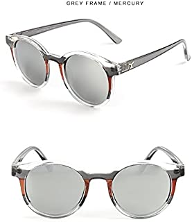Sunglasses Child Sunglasses Fashion Transparent Round Frame Cat Eye Polarized Sunglasses Boys Girls Kids Baby Goggles UV400 Mirror Accessories for Summer Beach (Color : Silver)