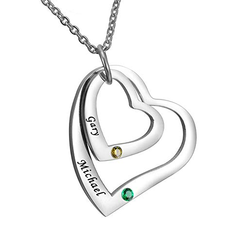 HOUSWEETY Personalised Engraved Love Hearts Necklace Family Names Pendant BFF Couple Keepsake with Birthstones - Custom Made & Personalised with 2 Names!