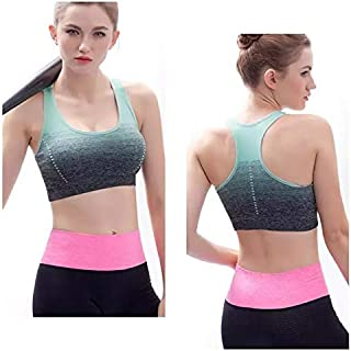 Sports Bra Yoga Seamless Crop Bra Gradient High Stretch Breathable Top Fitness Padded Sport Push-Up Running Gym for Women