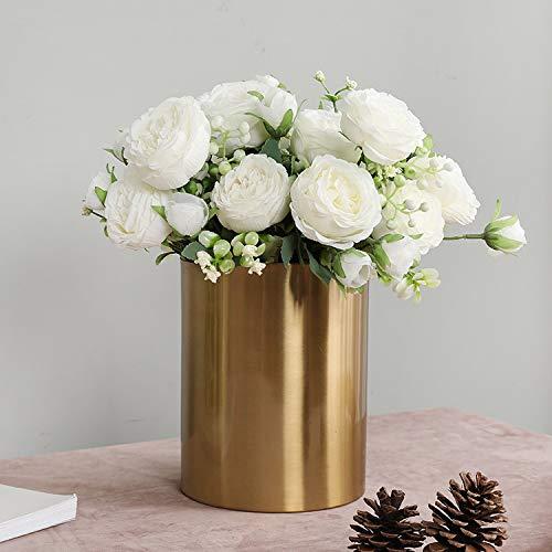 künstliche Blume, lebensecht künstliche Rosen, für Hochzeit, Valentinstag, Vorschlag, Party Dekoration mit Blume (Weiß-A)
