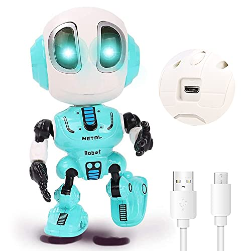Upgraded Rechargeable Talking Robots for Kids, Mini Robot Toys That Repeats What You Say, Colorful Flashing Lights and Cool Sounds, Toys for Age 3+ Boys and Girls Gift