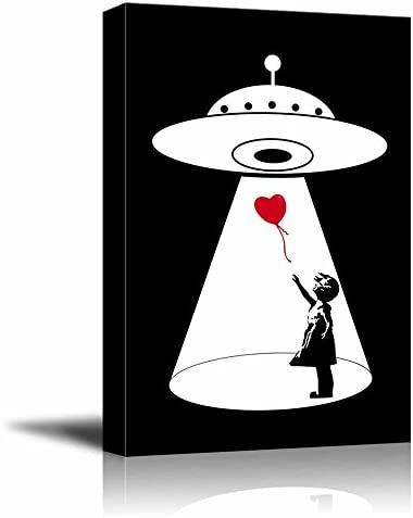wall26 Canvas Wall Art UFO Abduction of The Heart Shaped Balloon from The Banksy Girl Giclee product image
