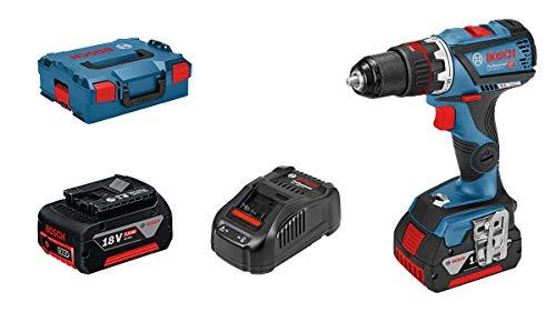 Bosch Professional 18V System Akku-Bohrschrauber GSR 18V-60 FC (inkl. 2x5.0 Ah Akku, Ladegerät GAL 1880 CV, Bohrfuttervorsatz, in L-BOXX) - FlexiClick System