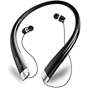 Bluetooth Headphones,LSCHARM Wireless Stereo Bluetooth Headsets Retractable Earbuds Neckband Sport Sweatproof Earphones with Mic Noise Cancelling for iPhone Android Cellphone