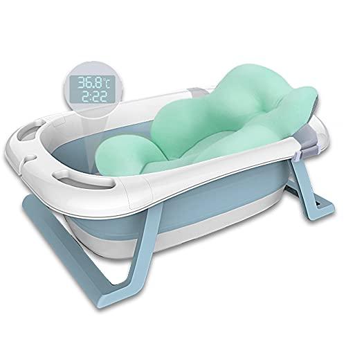 Haioo Bañera Plegable Bebé, Bañeras para Bebes de Viaje de 0 a 36 meses (Azul, Cojín + Termómetro)