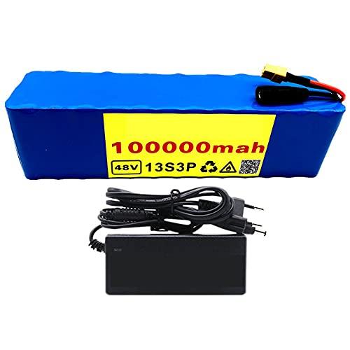 Wxnnx Batterie Lithium-ION Haute capacité 48V 100000mAh 1000w 13S3P pour Scooter électrique 54.6V E-Bike avec décharge BMS + Chargeur