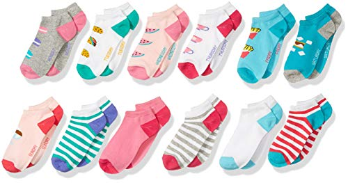 Spotted Zebra Girls' Kids Cotton Ankle Socks, 12-Pack Food Days of The Week, X-Small