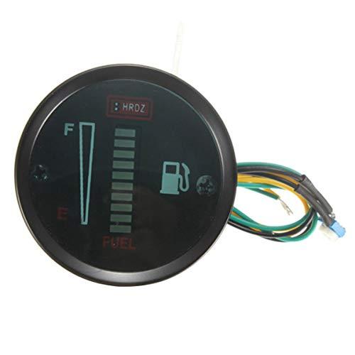 Monlladek LED-Tankanzeige, Auto- und Motorrad-modifiziertes Instrument 52Mm2 Zoll Kraftstoffanzeige 12V LED-Kraftstoffanzeige Kraftstoffanzeige 12V LED-Kraftstoffanzeige (schwarz)