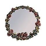 RONGW JKUNYU Gran Espejo Redondo de la Flor del Soporte del Metal Espejo de Pared de la Sala o Cuarto de baño de Gran tamaño Decorativo Espejo (52 cm de diámetro) Espejo de Pared Espejo de Pared