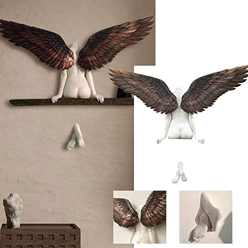 XeinGanpre - Escultura de pared, ángel en 3D, decoración minimalista de pared, figura de ángel, arte moderno, decoración de pared, decoración de pared para salón, dormitorio y oficina