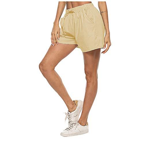 Andouy Damen Sommer Kurze Hosen Tunnelzug Elastische Stoffhose Solide Strand Shorts mit Taschen(XL.Khaki-1)