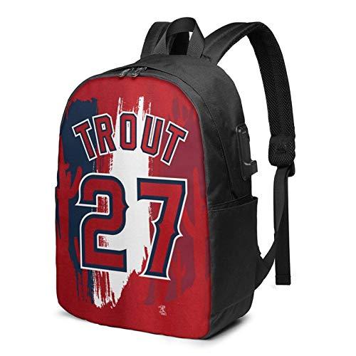 IUBBKI Mi-Ke T-Rout Logo 17 Inch Laptop Backpack For Men & Women,Travel/School Backpack With Usb Charging Port & Headphone Interface