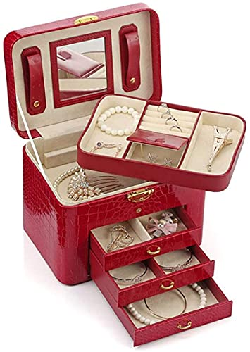 OH Caja de Joyería para Mujer Viajes Chicas Joyería Organizador Duplicado Mini Estuche Bloqueable Joyería Caja de Alenamiento Accesorios Caja de Exhibición de la Exhibición de Joyer