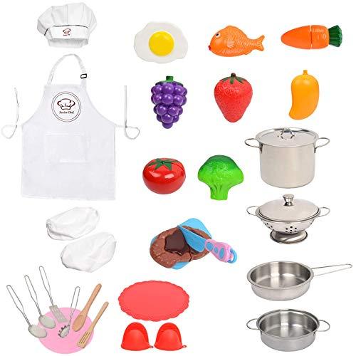 Kitchen Fretend Play Giocattoli da cucina con pentole e padelle in acciaio inox, utensili da cucina, grembiule, cappello da chef e maniche, taglio di