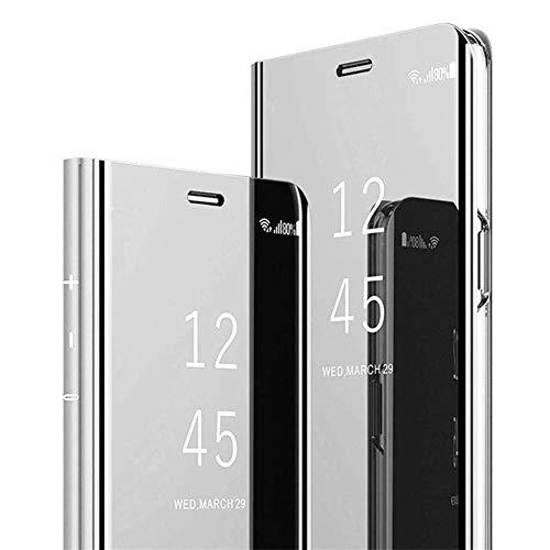 Vepbk - Funda para Samsung Galaxy A5 2017/A520 con espejo, carcasa rígida de policarbonato, carcasa de plástico y piel sintética con tapa, función atril, plata