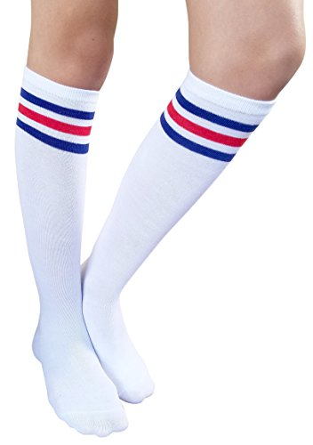 AM Landen Women's Casual White with Blue and Red Stripes Knee High Socks Girls socks
