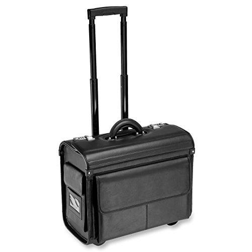 "ALL-STATE LEGAL Leather Litigation Bag, Rolling Bag, Catalog Case, Briefcase, 18"" L x 14"" H x 9"" W, Fits Laptop & Legal/Letter Size Files, Retractable Handle, Combination Lock, 1 Each"