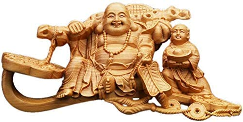 DYB Figuras de Madera de boj Hechas a Mano con Risa de Feng Shui Chino, colección de estatuas de Buda, Apertura de la Tienda, felicitaciones, decoración del hogar y la Oficina 122