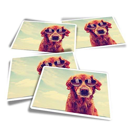 Pegatinas rectangulares de vinilo (juego de 4) - ky Golden Retriever Gafas de sol divertidas calcomanías para portátiles, tabletas, equipaje, reserva de chatarra, frigoríficos #14157