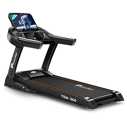 PowerMax Fitness TDA-360 15.6 Inch HD Display Touch Screen (6.0HP Peak) Multi-Function Motorised Treadmill with Free Installation Assistance, Automatic Lubrication, Home Use & Automatic Incline