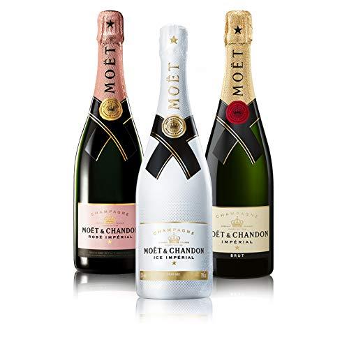 "Probierpaket ""Moët Chandon 3er""| Champagnerpaket mit drei verschiedenen Moët Chandon Champagner (3 x 0,75 l) | Ideales Champagner Tasting-Set"