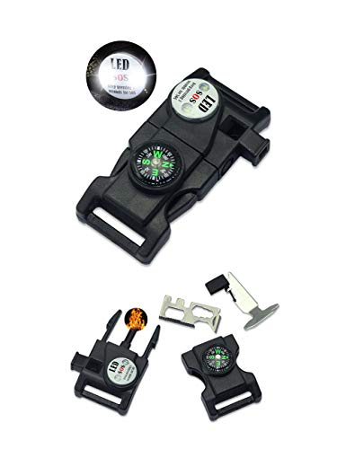 DIY Buckles Black Plastic Side Release Buckles with LED Light Compass Flint Scraper Fire Starter Whistle Buckle for Paracord Bracelets (3/4 Inch, 10 Pack)