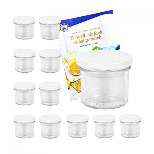 MamboCat 12er Set Sturzgläser 125 ml mit weißem Deckel to 66 inkl. Diamant Gelierzauber Rezeptheft Marmeladengläser Einmachgläser Einweckgläser