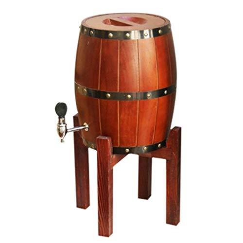 BMJ&C Whiskyfass, 3L / 5L Weinfass Massivholzfass Wasserhahn Nicht erlaubt Hohe Halterung Fassbier Weinlagerung Tingting (Farbe: Weinrot, Größe: 3L)