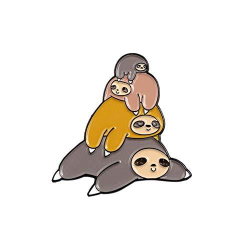 Tier Emaille Pin Faultier Becher Kuchen Zweig Hug Broschen Tasche Kleidung Anstecknadel Faultier Abzeichen für Kinder Schmuck Geschenk, Faultiere