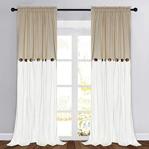 Farmhouse Cotton Blend Curtains, Rustic Country Color Block Curtain Panels, Boho Button Rod Pocket Window Drapes for Bedroom Living Room Decor, Set of 2 Panels, Linen Color, 52 x 96 Inch Length