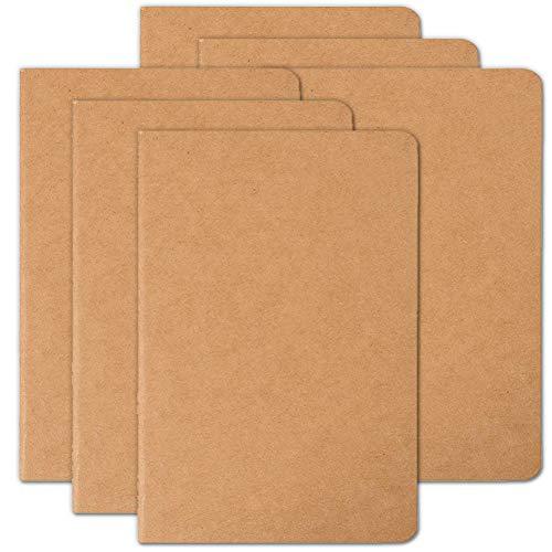 Set diari di viaggio composto da 6 taccuini per viaggiatori, copertina morbida in carta kraft, formato A5, 210 mm x 140 mm, 60 pagine, 30 fogli Confezione da 6 Vuoto.