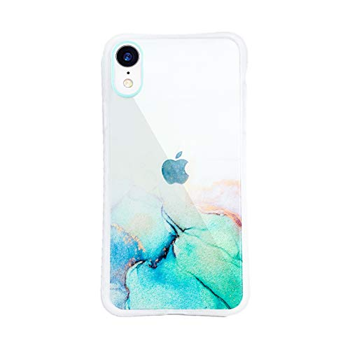 Compatible with iPhone XR case,Gradient Watercolor iPhone case Clear Quicksand Glitter Sparkle iPhone case Small Waist case for 6.1 inch (Green)