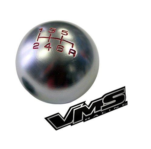 VMS Racing 10x1.25mm Thread 6 Speed JDM Round Ball Shift Knob in Gunmetal Grey Gray Silver Billet Aluminum for Mitsubishi Lancer Evolution EVO 7 8 9