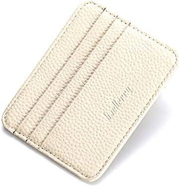 FlorenceS 7Colors Special Design Wallet Holder Mens Leather Card Slim Bank Credit Card ID Card Holder Case Bag - White