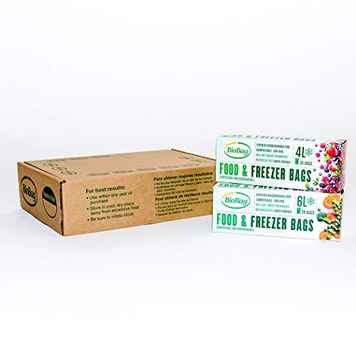 BioBag Bolsas para congelador compostables, transparentes, 4 y 6 litros, 90 unidades