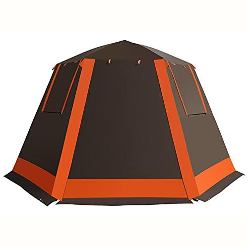 LJFLI Carpa para Camping 3-4 5-6 Personas Acampar al Aire Libre a Prueba de Lluvia Espesado de Doble Capa portátil Completamente automático,Brown,L