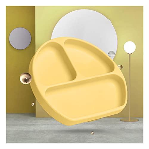 Copa de succión para bebés Plato de Cena para niños Placas Antideslizantes de Silicona Adecuado para adherirse a Las bandejas de Silla Altas Placas para la Cena Infantil (Color : Gray)