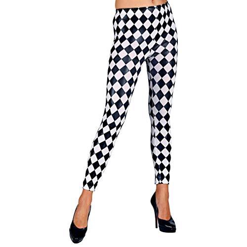 NET TOYS Attraktive Damen-Leggings Schachbrett-Muster   Schwarz-Weiß in Größe S/M (36 - 42)   Lässige Frauen-Strumpfhose Karomuster geeignet für Mottoparty & Karneval