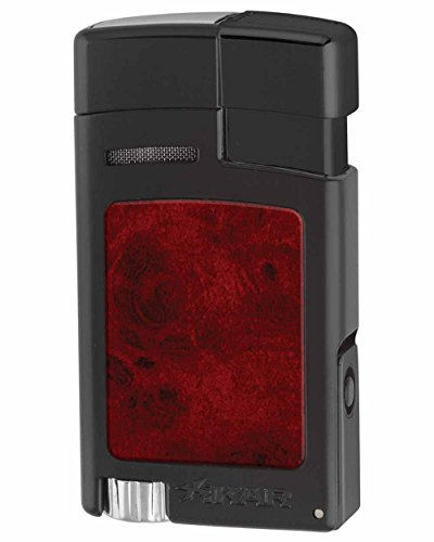 Xikar Forte Jet Flame Lighter, Fold-Out 7mm Cigar Punch, Red Hue Fuel Gauge, Hot Rod Inspired Design, Decorative High-Touch Insert, Black with Burl Inserts