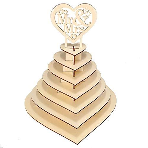 FiedFikt 7 Tier Hartvorm Gepersonaliseerd De heer & Mevrouw Chocolade Display Pyramid Stand,Bruiloft Snoep Dessert Display Stand,Theepartijen/Candy Bars/Verjaardag Serveerstandaard