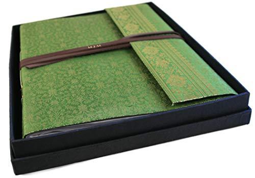 Sari Stoff Fotoalbum, Large Olivegrün - Handgefertigt von Life Arts