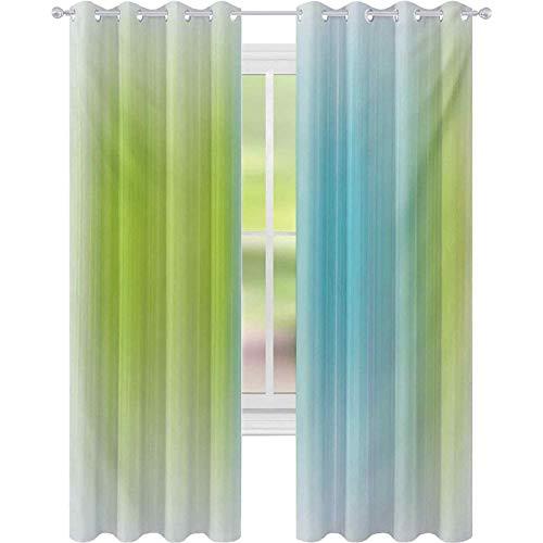 Cortinas opacas para dormitorio, con textura de rayas digitales, verticales, sin fin, con bandas largas y estrechas, 52 x 84, cortinas de oscurecimiento para sala de estar, color azul y verde