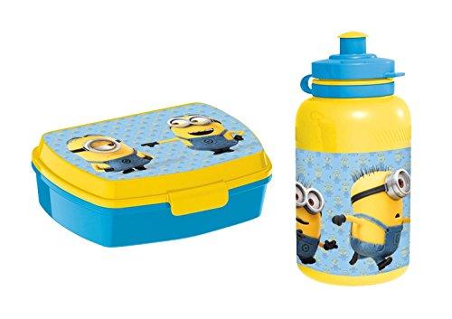 MINIONS Frühstücksset Brotdose + Trinkflasche Lunchbox Kindergeschirr Geschirrset Geschirr