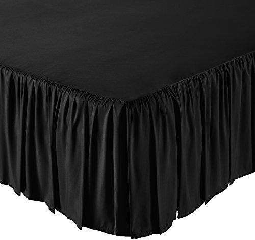 AmazonBasics Ruffled Bed Skirt, 16 Inch Skirt Length, Twin, Black
